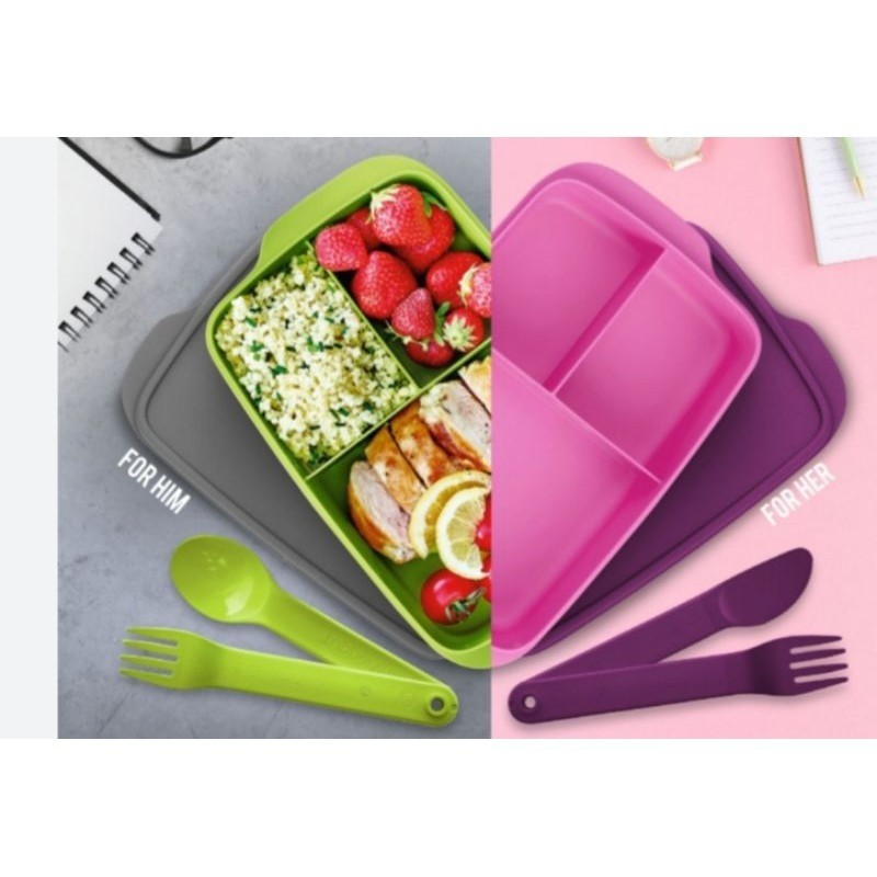 Tupperware Jolly Tup LUNCH BOX 1L(1pc or 2pcs)with cutlery set
