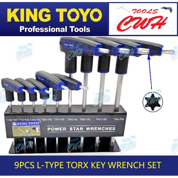 King Toyo KT-LS009 9pcs L-Type Torx / Star Key Wrench Set           - -----------STANLEY TOPTUL BONDHUS SATAGOOD SATA M1