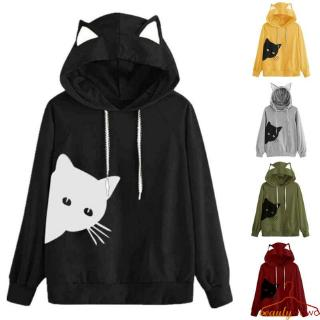 Women Long Sleeve Gradient Color Cat Ear Hooded Sweatshirt Pullover Tops Blouse