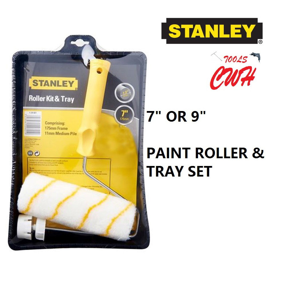 """7"""" 9"""" STANLEY CAGE FRAME PAINT ROLLER & TRAY SET 29-064 29-821 29-494 29-822 29064 2921 29822 29821"""