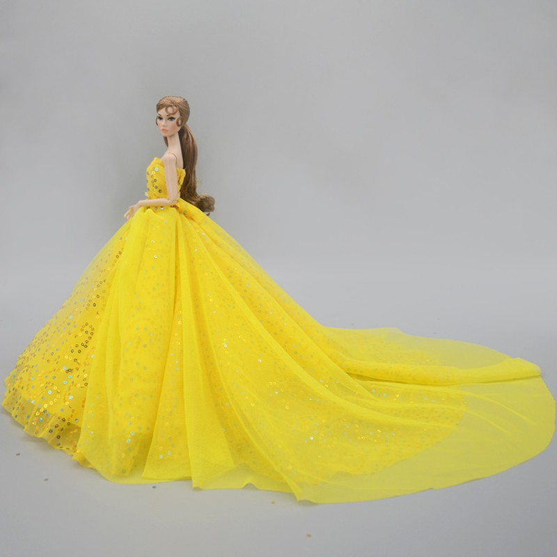 Yellow Handmade Barbie Doll Wedding Dress Outfits Princess Evening Party Gown Skirt Bridal Barbie Doll Dress Accessories Shopee Malaysia