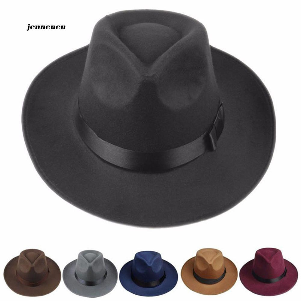 d3237f47a0d4a JNUN_Sun Visor Men Women Hard Felt Wide Brim Fedora Panama Hat Autumn  Vintage Cap