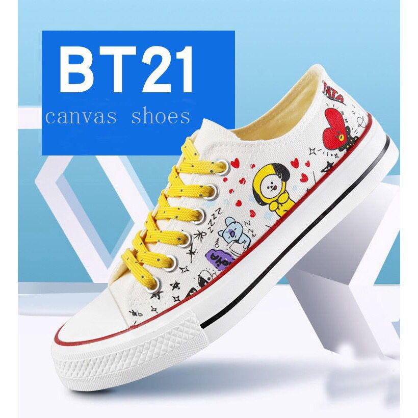 61732b2737ff82 2018 Korea BTS rebound juvenile Converse X bt21 casual shoes canvas shoes
