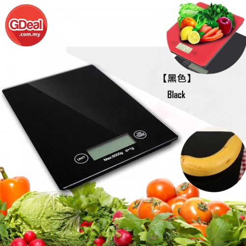 Digital LCD Display Kitchen Scale Tempered Glass Max 5000g