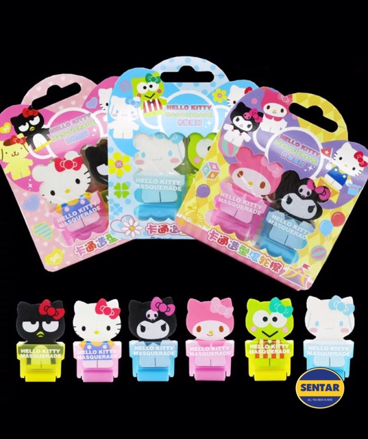 Sanrio Character Eraser With Roller Kitty Melody Kuromi Badtz Cinna Keroppi  Set