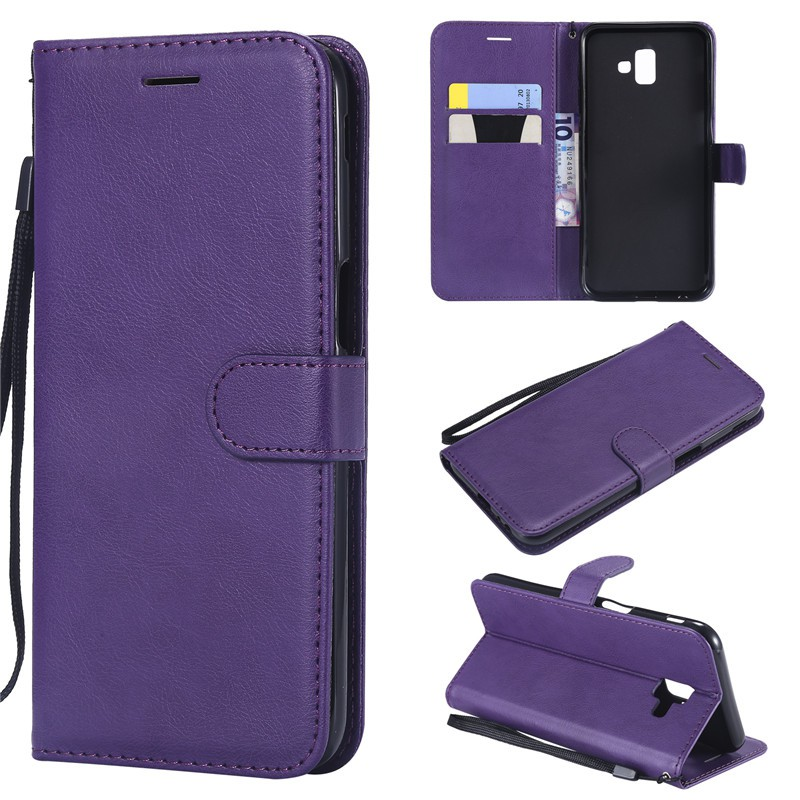 newest c83c3 c62ef Wallet Case For Samsung Galaxy J6 Prime/J6 Plus Flip Cover Pure Color PU  Leather