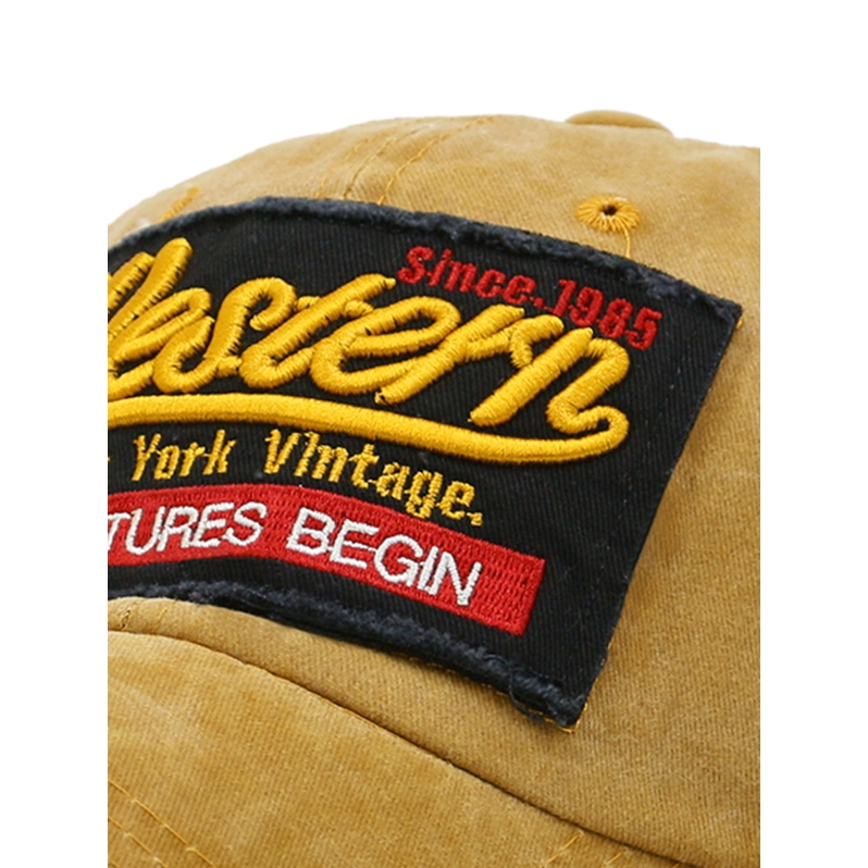 ADVENTURES BEGIN Embroidery Washed Dyed Baseball Cap