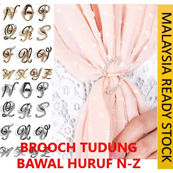 READY STOCK] BROOCH PIN KLIP TUDUNG BAWAL ADIJUMA ANAQEEN BENTUK HURUF N-Z WARNA EMAS & PERAK / ALPHABET RING BAWAL N-Z