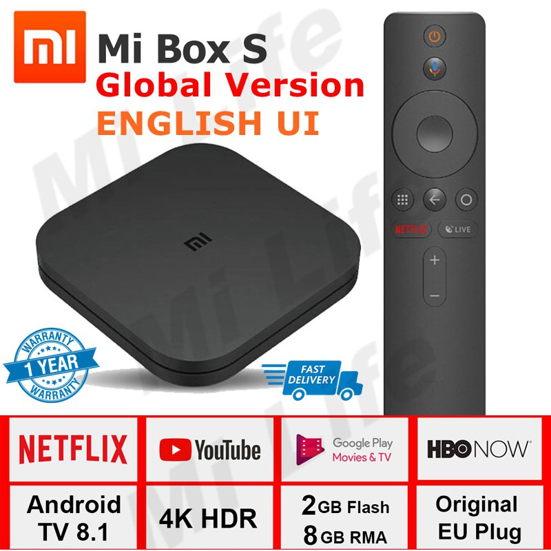 Global Version Xiaomi Mi Box S 4K Mibox HDR TV With Google Assistant  Android 8 1
