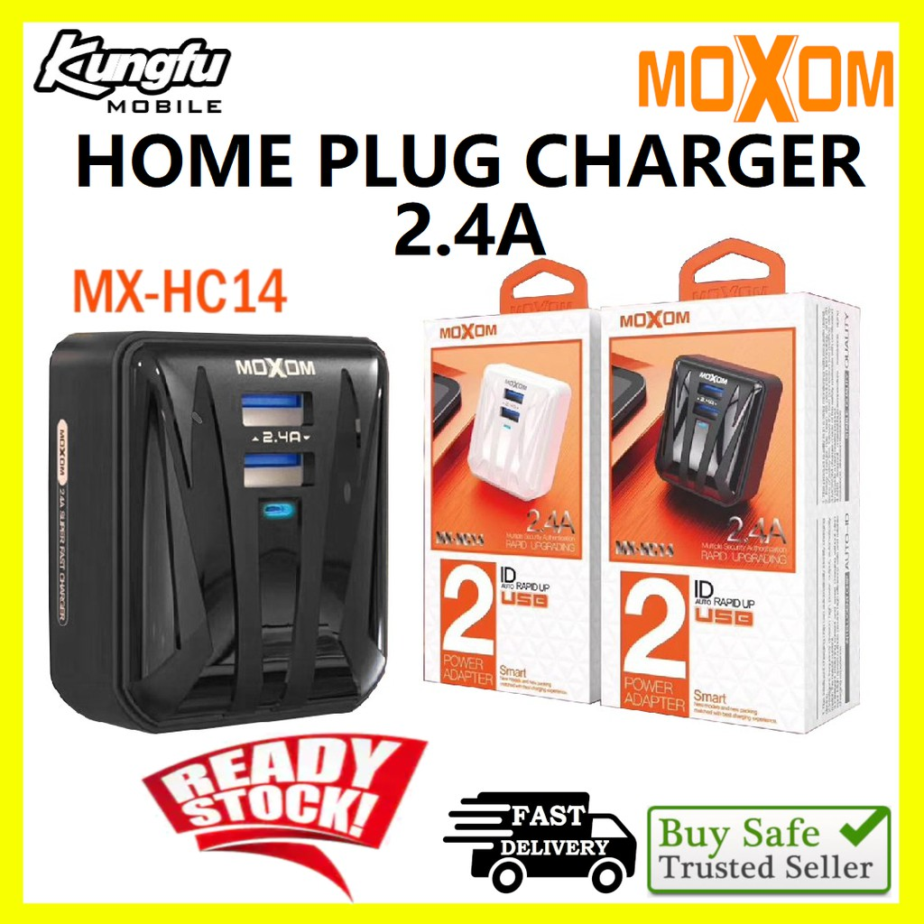 Moxom MX-HC14 Auto-ID 2.4A Dual USB Port UK 3-Pin Charger Adapter With Micro Cable