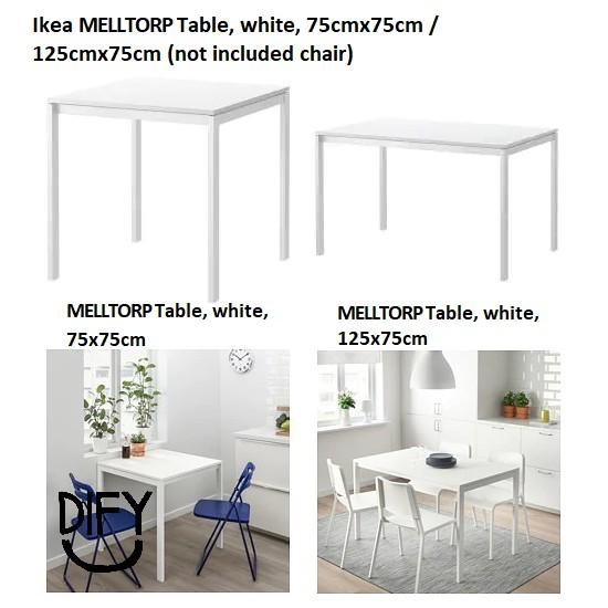Ready stock! Ikea MELLTORP Table, white, 75x75cm / 125x75cm