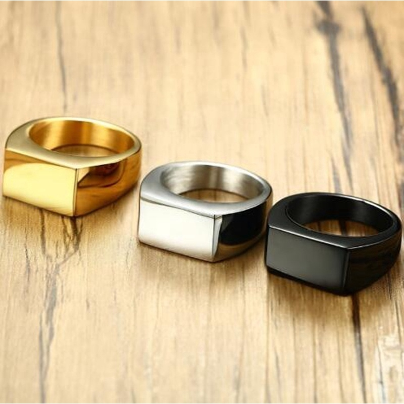 4241fe495c72c Black Gold Silver Stainless Steel Men's Ring Boy Men's Simple Ring Jewelry