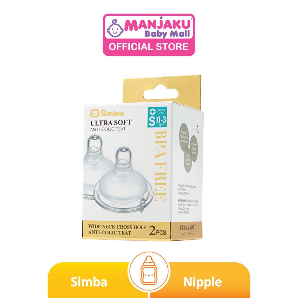 Simba Cross Hole Mother's Touch Anti-Colic Nipple - Wide Neck (2 Pcs)