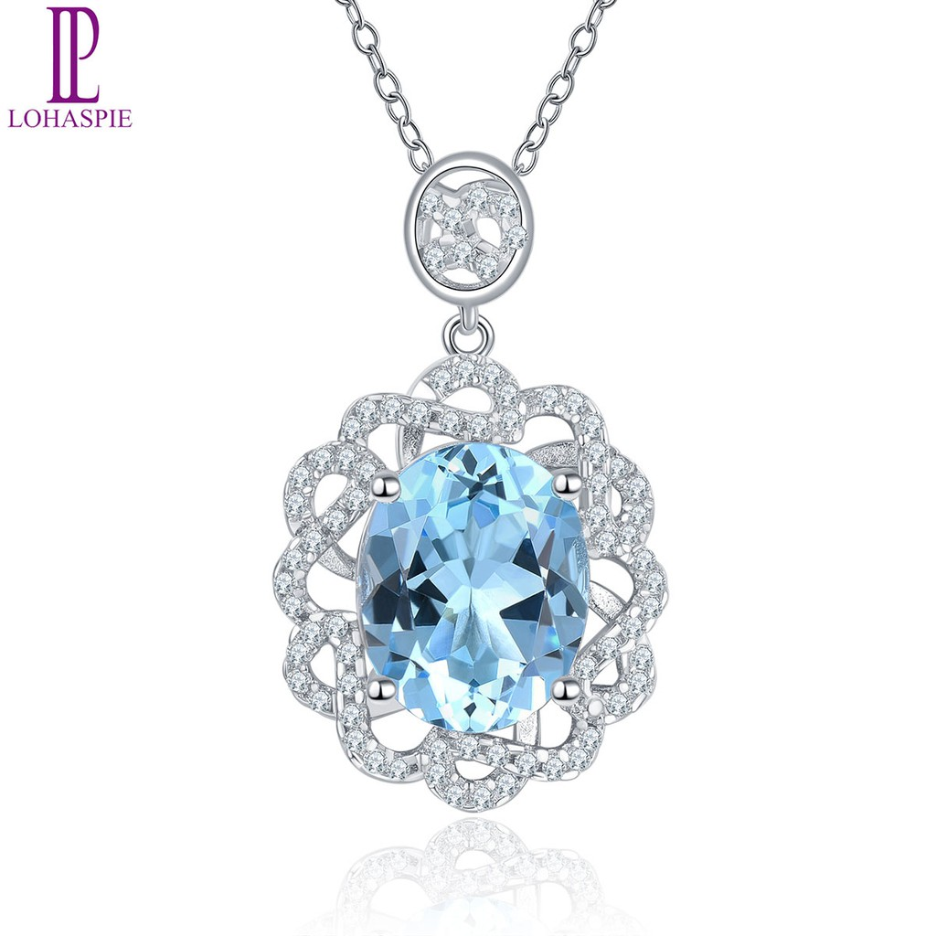 925 Sterling Silver Rhodium Plated Blue White Cubic Zirconia Oval Pendant