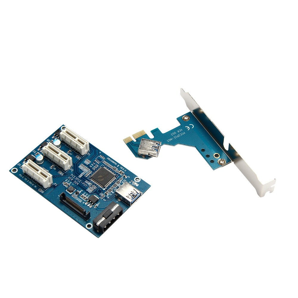USB Cable 1PC PCI-e Express 1X to 3 Port 1X Switch HUB Multiplier Riser Card