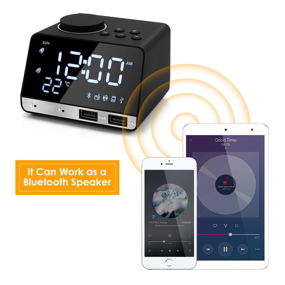 Digital Bluetooth Radio Alarm Clock Speaker Dual USB LED Home Decor Snooze  Table