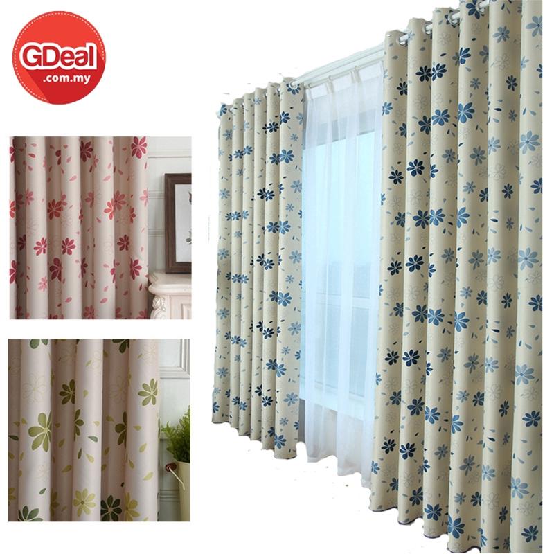 GDeal【Thick Curtains】Tebal Beautiful Flower Patterned Curtains Blackout Drape Window Curtain Langsir 100cm x 250cm