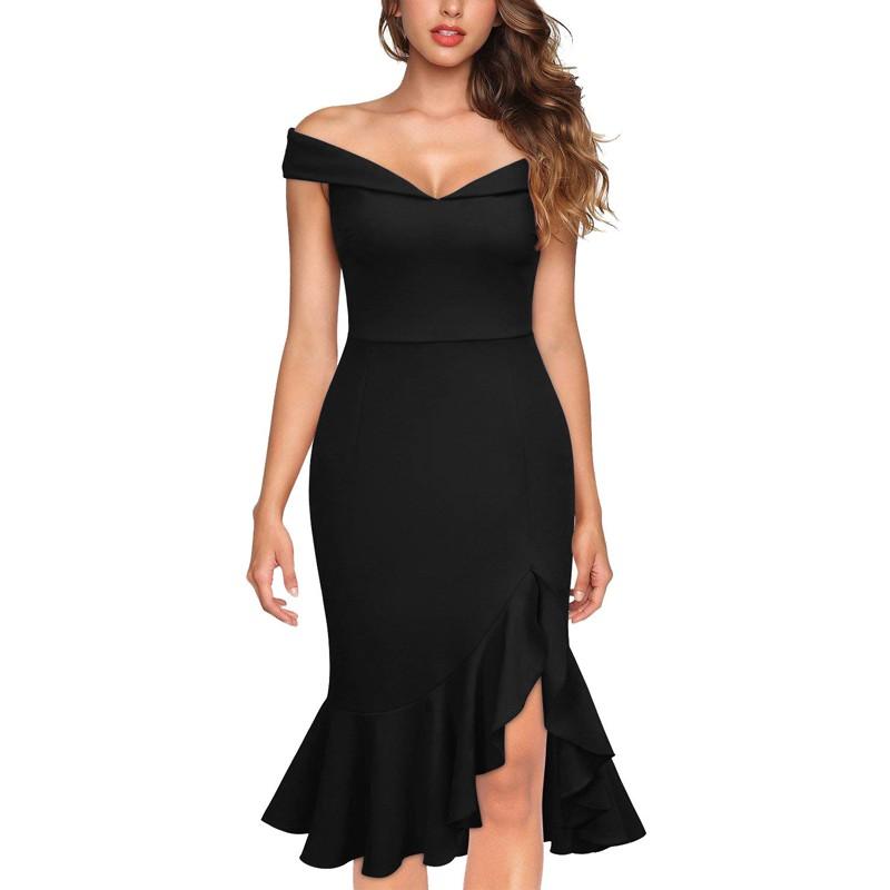 ae3baa8a93 Women Sexy Mermaid Party Dress Shoulder Asymmetrical Elegant Summer ...