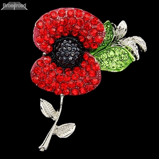 Broad Red Flower Poppies Crystal Poppy Pin Brooch Enamel