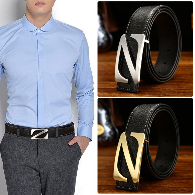 Mens casual business letter Z lychee leather belt