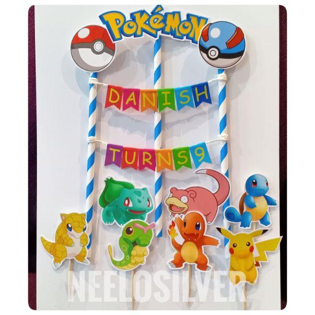Fine Pokemon Cake Topper Birthday Party Shopee Malaysia Funny Birthday Cards Online Eattedamsfinfo