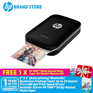 HP Sprocket Photo Printer (Z3Z93A) - Red FREE 1 Pack Zink Paper-1PF35A