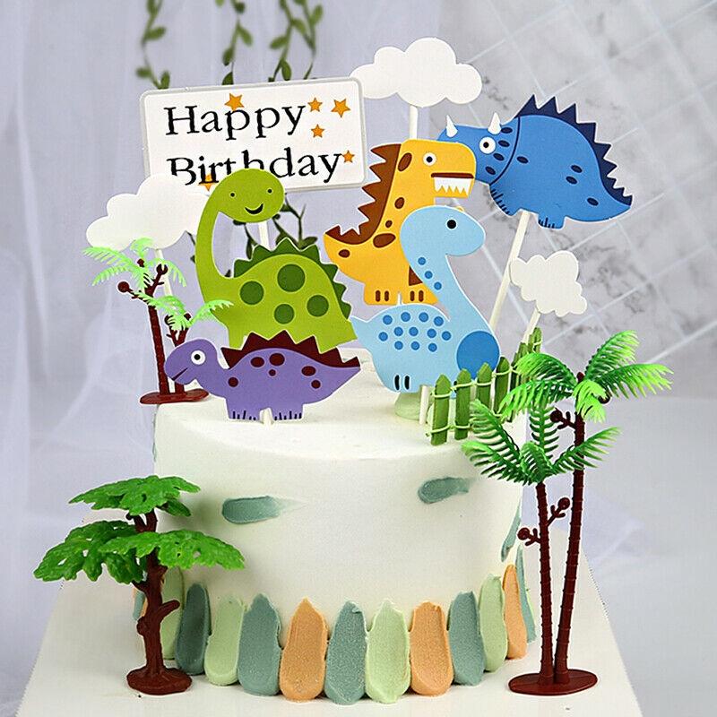 Astounding 9Pcs Cartoon Happy Birthday Cake Topper Cloud Dinosaur Decorating Funny Birthday Cards Online Alyptdamsfinfo