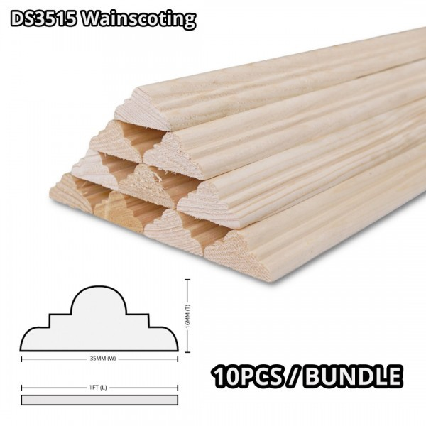 Pine Wood Timber DS3515 Moulding Decorative Wainscoting 16MM (T) x 35MM (W) x 1' (L) - 10PCS/BDL