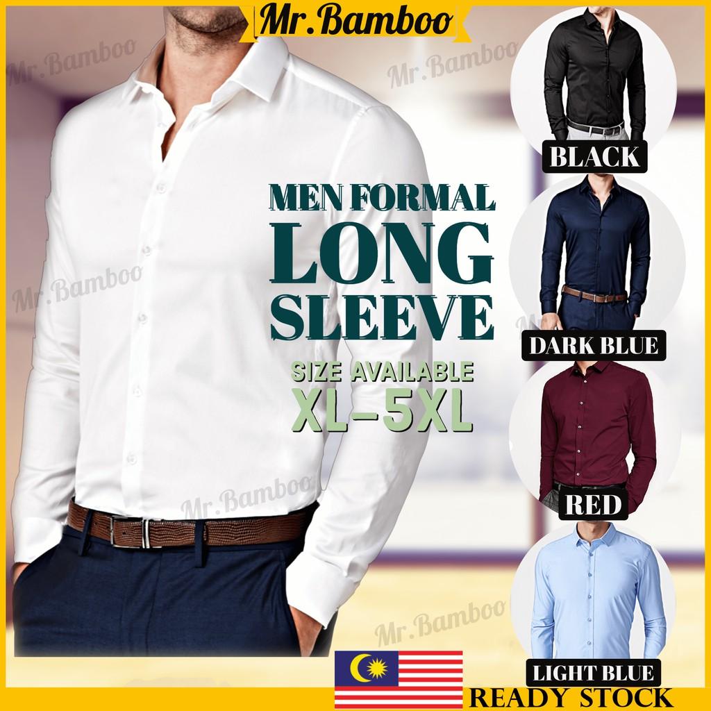 [M'sia Ready Stock]Men Formal Button Baju Kemeja Smart Casual Long Sleeve Slim Fit Kemeja Suit Shirt FS01