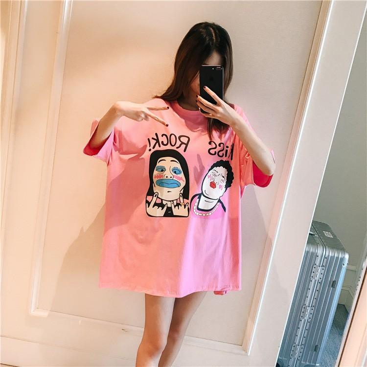 Large size women fat MM new Korean loose short-sleeved t-shirt women 200  pound