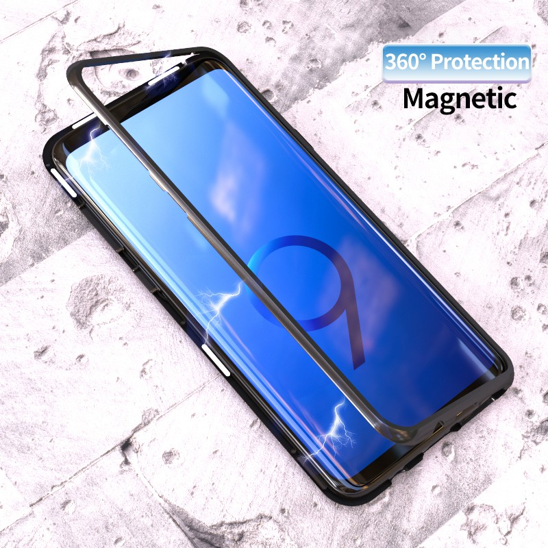 sneakers for cheap 6a0ea f23eb Magnetic Case Samsung Galaxy S8 S9 Plus S7 Edge Tempered Glass Cover Metal  Frame