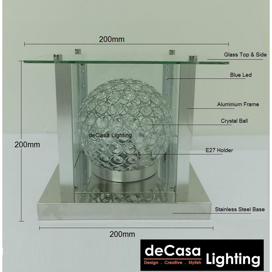 DECASA LIGHTING 200mm Crystal Outdoor Pillar Gate Lamp Garden Light Glass Non-Rusty Lampu Pagar Outdoor Light (5128-200)