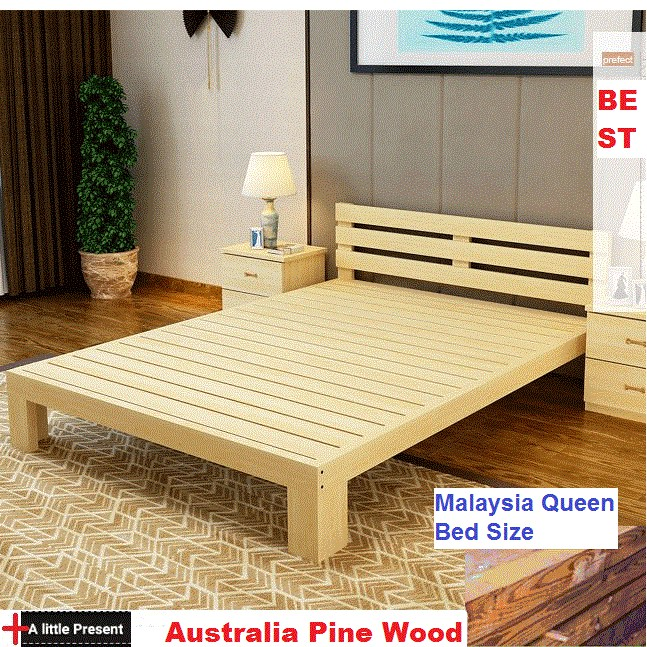 Queen Single Size Australia Pine Wood Bed Frame Shopee