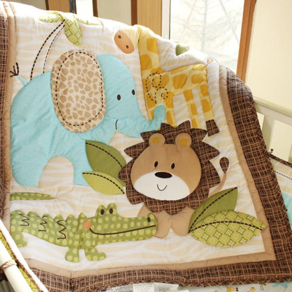 Baby Bedding Crib Cot Quilt Set  5pcs Quilt Bumper Sheet Dust Ruffle