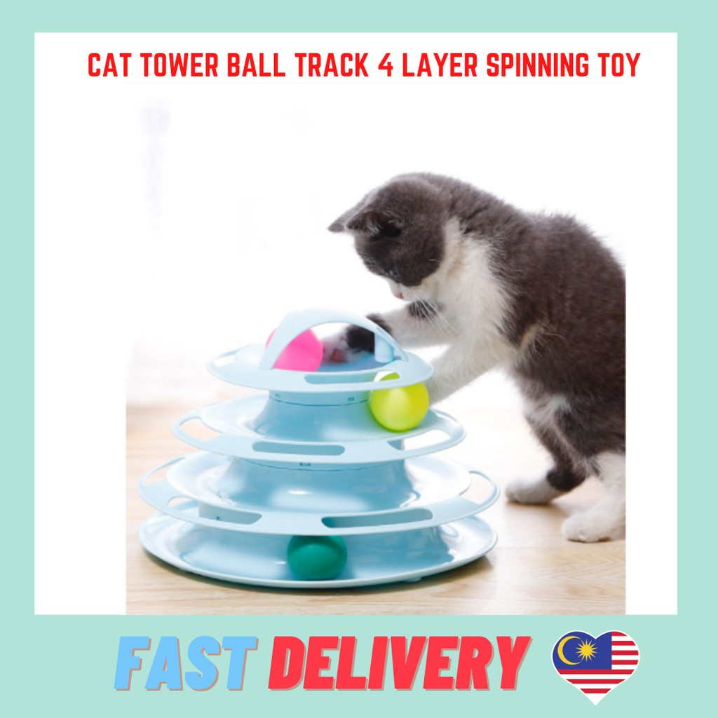 Cat Tower Ball Track 4 Layer Spinning Toy Mainan Kucing