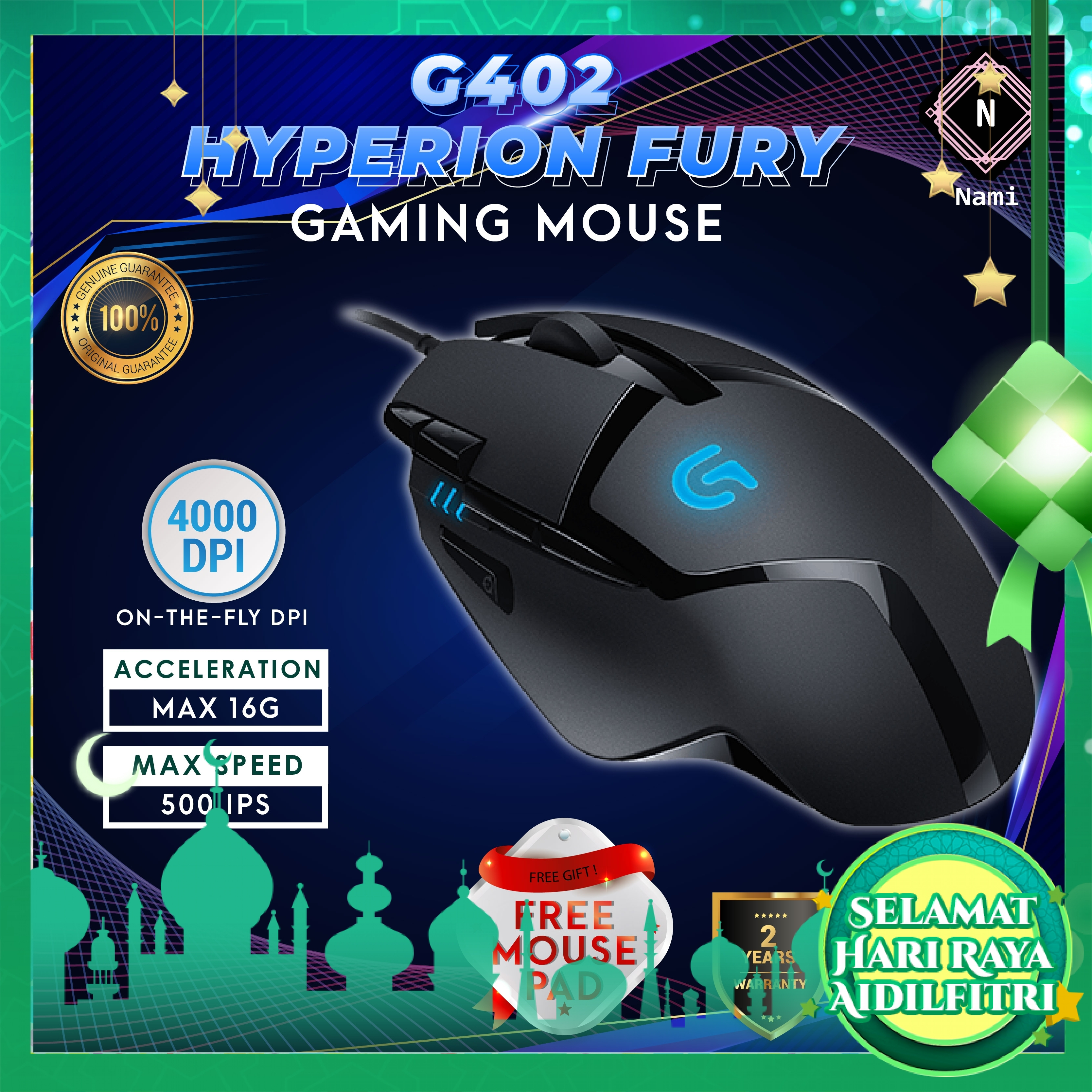 Logitech G402 Hyperion Fury Gaming Mouse (EXTRA Protection + Fragile Sticker)