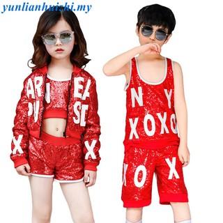 Girls Sequined Tank Tops Womens Dance wear Costume Boys Modern Jazz Hip-Hop Dancewear Jumper Mens Sequins Shirts