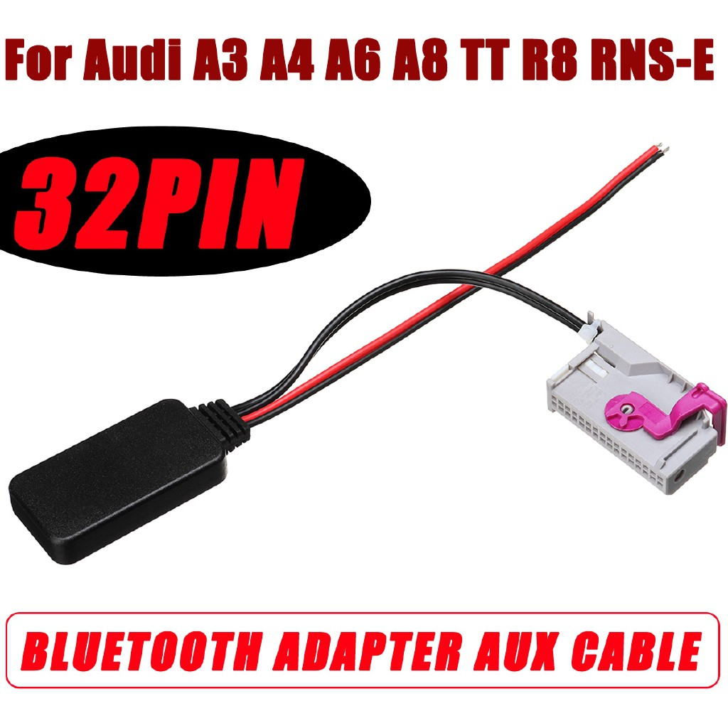 🐟🐟32Pin Bluetooth Module Adapter Aux Cable For Audi TT R8 RNS-E 12V