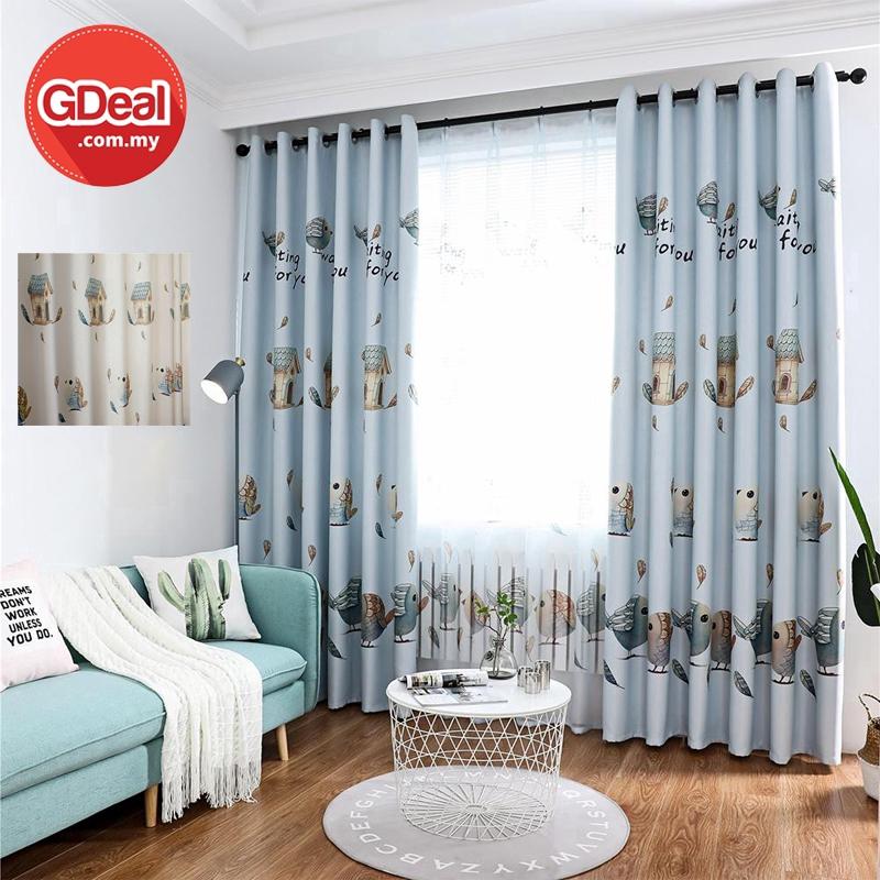 GDeal【Thick Curtains】Love Bird Pattern Sliding Curtains Living Room Bedroom Curtain Decor Blackout Langsir (250 x 100)