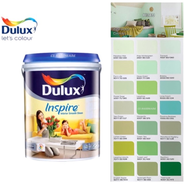 5 Litre ICI DULUX Inspire Interior Smooth Sheen Paints (GREEN)