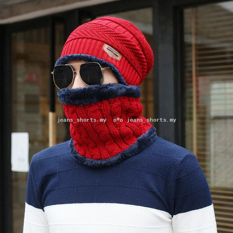2PCS Winter Womens Warm Baggy Knitted Bobble Pom Hat Beanie+Crochet Scarf Set WS