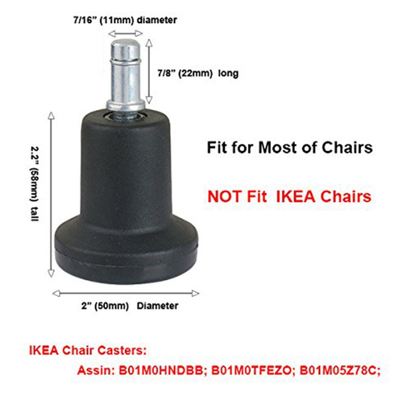 High Profile Bell Glides Replacement for Office Chair Without Wheels /& Bar MO 5X