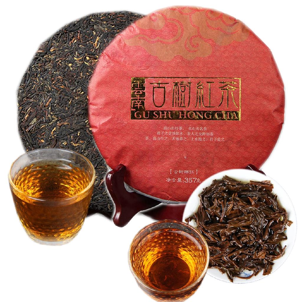 DianHong Black Tea Cake Red Tea Big Leaf Aged Tea Health Green Food 357g