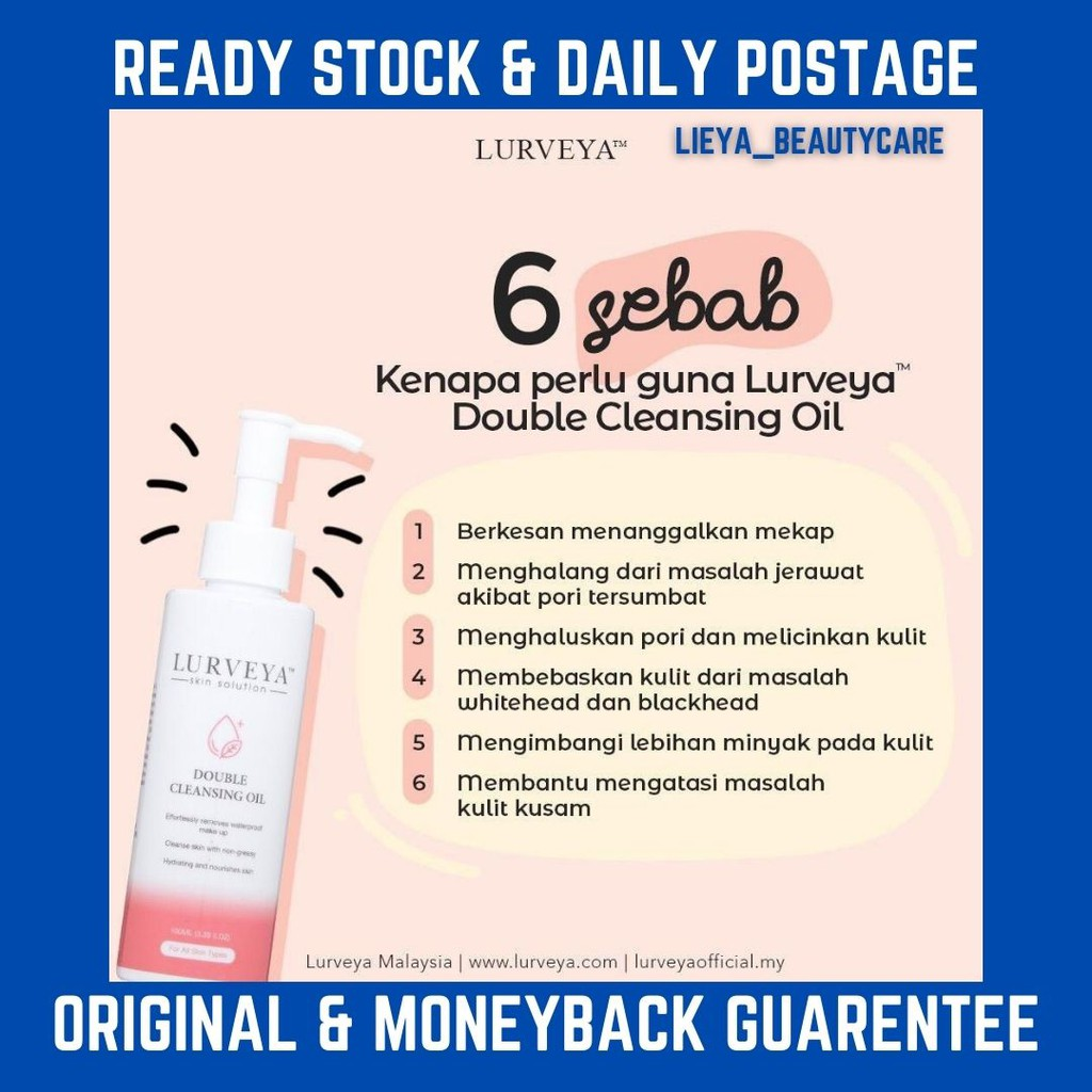READY STOCKLURVEYA DOUBLE CLEANSING OIL (MAKE UP REMOVAL) GET 1 GIFT