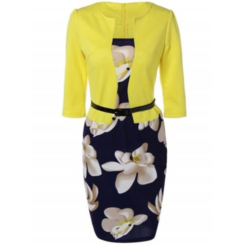 FLORAL KNEE LENGTH PENCIL FITTED WORK DRESS (YELLOW)