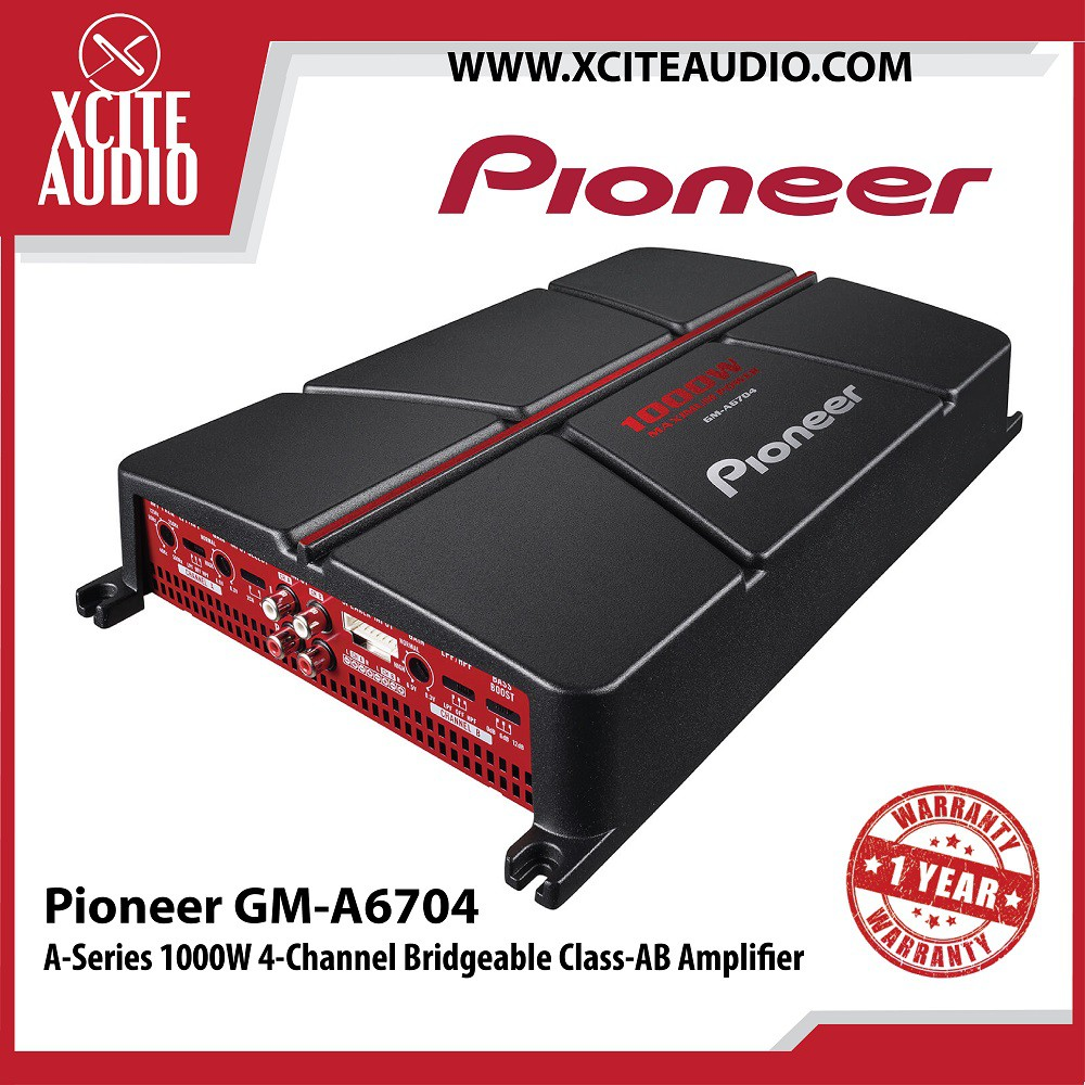 Pioneer GM-A6704 A-Series 1000W 4-Channel Bridgeable Class-AB Car Amplifier
