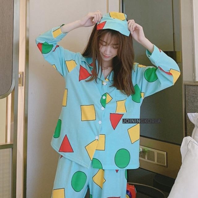 ชุดนอนผ้าคอตตอน ลายชินจัง 🌈 มีผ้าปิดตาให้ด้
