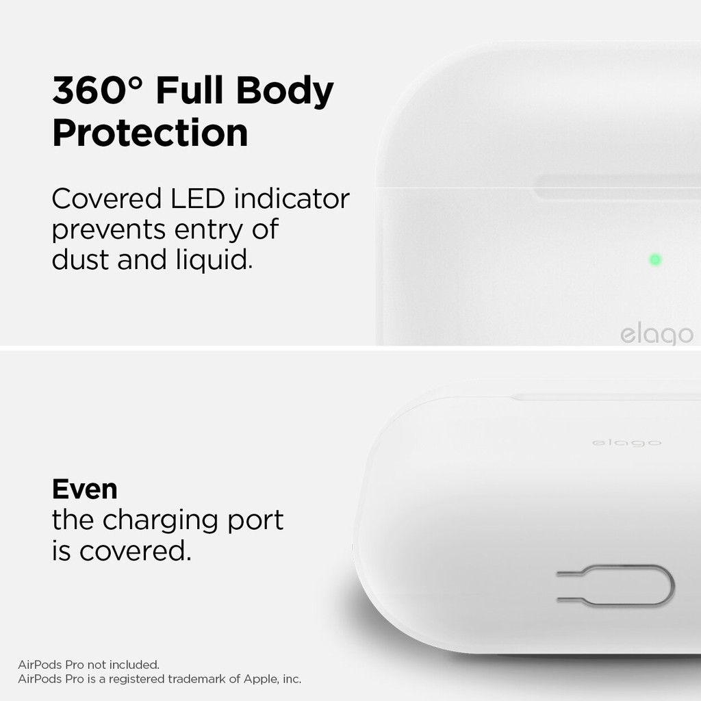 360/° Full body Protection Black LED visible Premium Silicone Case for AirPods Pro elago AirPods Pro Case Silicone Cover with Keychain Designed for Apple AirPods Pro Case