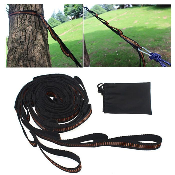 2X Adjustable Hammock Straps Loop Tree Hanging Extension Heavy Duty Suspension