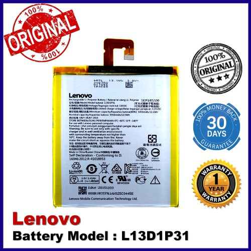 Original Battery Lenovo L13D1P31 Lenovo Tab 3 7 Essential TB3-710I Battery